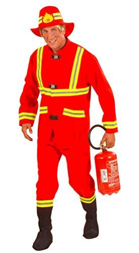 Karneval Klamotten Kostüm Feuerwehrmann Erwachsene Herren-Kostüm rot Feuerwehr-Uniform Oberteil, Hose, Stulpen inkl. Feuerwehr-Helm Größe 48