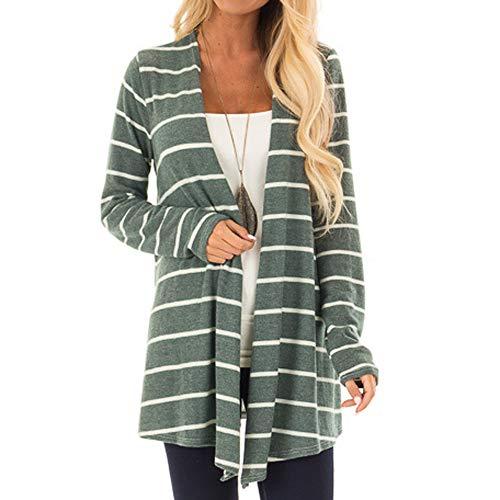 Preisvergleich Produktbild Sannysis Damen Herbst Winter Cardigan Lange Ärmel Pullover Frauen Langarm Streifen Druck Shirts Mode Lange Mantel Bluse