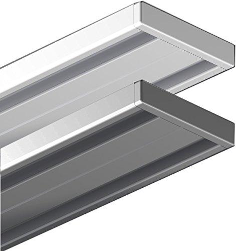 gardinenstange 2 laeufig 240 Garduna 450cm | weiss | Gardinenschiene Vorhangschiene| Aluminium | 1- oder 2-läufig