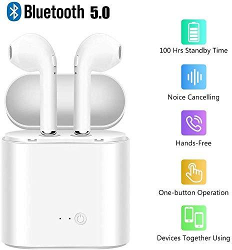 Auriculares Bluetooth In-Ear Auriculares Mini Auriculares Inalambricos Deportivos Estéreo con Microfono y Cancelación de Ruido Caja de Carga - Portátil Auriculares para Smartphones