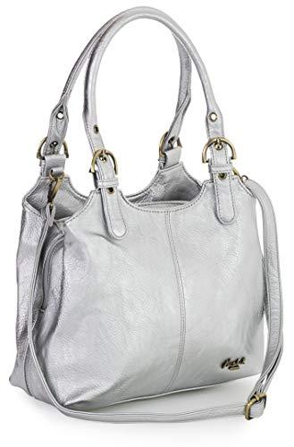 Big Handbag Shop Mehrfachtaschen Mittlere Größe Umhängetasche/Schultertasche für Frauen - Mit langem Schulterriemen - AMELIA (Mabel - Metallisch Silber) -