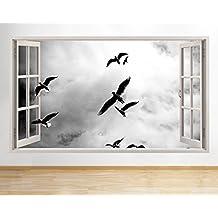 G450gabbiani uccelli volo Living finestra decalcomania da parete adesivi 3D Art Vinyl Room