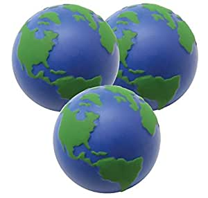 3 x Globe Stress Balls by StressCHECK - Sensory Toys - Squeezy Ball, Atlas, World Map with 3D Relief ideal for ADHD & Autism ONLY £2.58 EACH Including Postage
