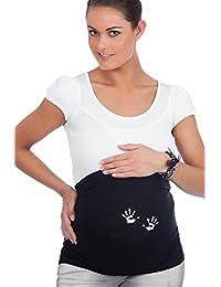 Mamaband Schwangerschaft Bauchband für die Babykugel – Rückenwärmer und Shirtverlängerung für Schwangere – Elastische Umstandsmode Glitzer Händchen in Schwarz