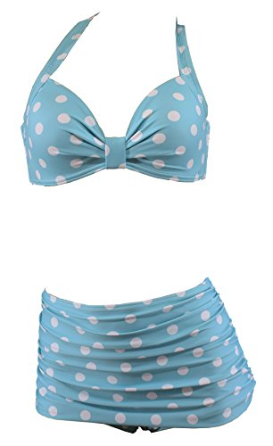 Aloha-Beachwear Polka Dots Vitage Look High Waisted Damen Neckholder Bikini A1061, gepunktet (L / 40 / UK 14, Türkis / Weiss)