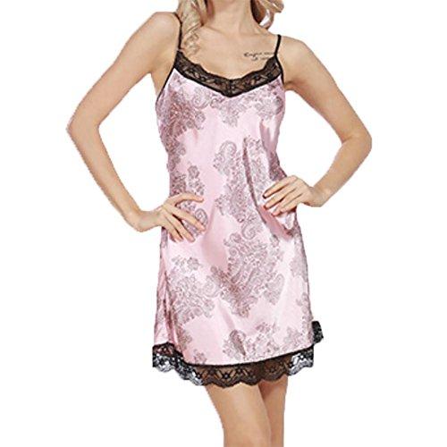 YUYU Indumenti da notte Womens Chemise Camicia da notte Completo Slittamento Pizzo Abito lounge Estate Seta , rubber red