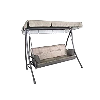 Balancín de 3plazas en color crudo, con respaldo reclinable, cama con techo para decoración de jardín, M0851