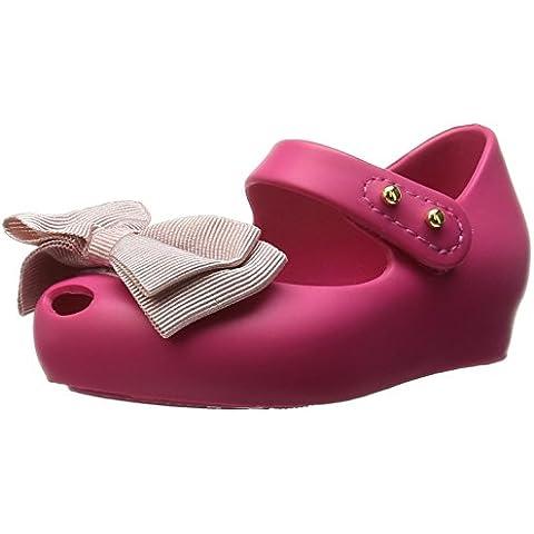 MINI MELISSA - Bailarina fucsia en plástico Melflex, goma perfumada,lazo color rosa de tela aplicado en la punta, niña,