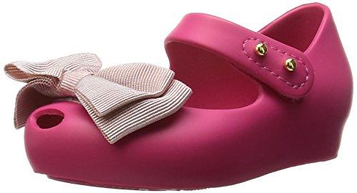 MINI MELISSA - Ballerina fucsia in plastica MELFLEX, una gomma profumata, chiusura a strappo, fiocco rosa, scarpa elegante, Bambina-25/26