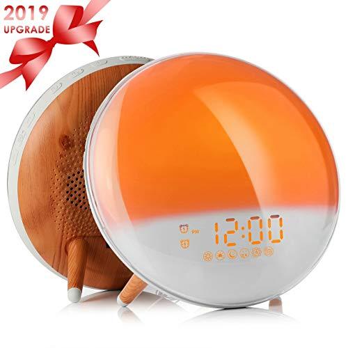 Fitfirst Despertador Luz Wake Up Light con Alarmas Duales de Simulación de Amanecer/Atardecer Reloj de Alarma, Radio FM & 7 Sonido Natural, Lámpara de Atmósfera de 7 Colores para Niños, Adultos