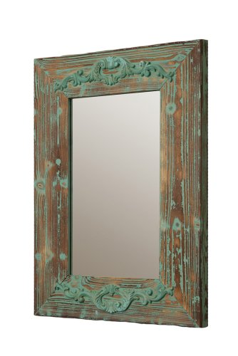 Your Heart's Delight Scrolled Decor Wooden Mirror, 20-1/2 by 28-1/2 by 1-1/2-Inch, Vintage Green