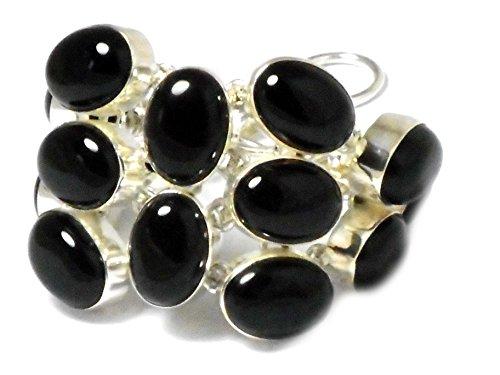 Grueso. Color negro Onyx plata de ley 925Gemstone pulsera–(B) bl2307151)