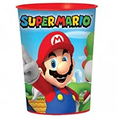Idea Regalo - Amscan International 421554- Bicchiere, motivo: Super Mario