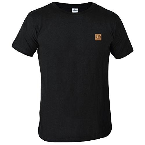 urban air | StyleFit | T-Shirt Basic | Herren | Sport und Freizeit | 100% Baumwolle, Leder-Patch, Kurzarm | weiß, schwarz, oder hell/dunkel grau | S, M, L, XL (S, O-neck schwarz)
