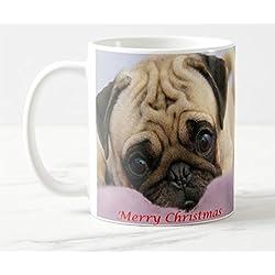 Navidad Pug ml taza de cerámica