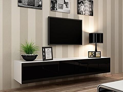 TV Board Lowboard Migo Hängeschrank Wohnwand 180cm (Weiß Matt / Schwarz Hochglanz)