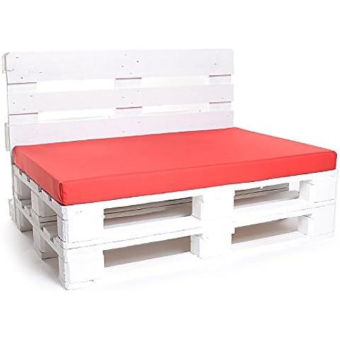 , colchón cojín de palé, palé–Fregadero, nailon rojo, 120x 80cm relleno de espuma (Respaldo Extra