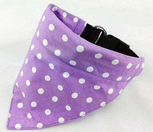 Hundehalstuch als Halsband optional mit Wunsch Namen bestickt lila Punkte Halstuch Tuch