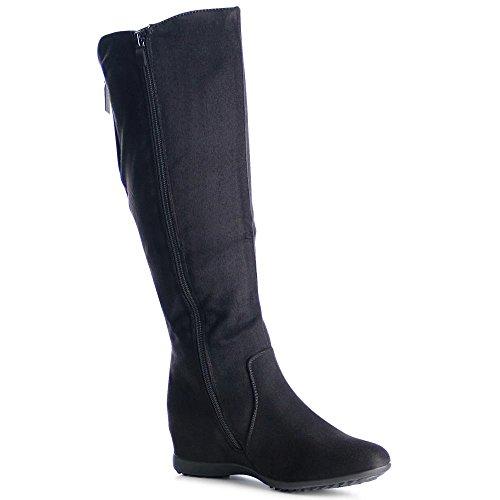 topschuhe24 1019 Damen Stiefel Boots Keilabsatz Glitzer, Farbe:Grau;Größe:41