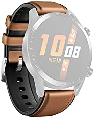 Shinesky Replacement Leather Silicone Watch Band Wrist Strap for Huawei Watch GT2 46mm