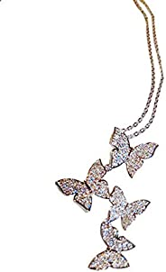 Onefeart Silver Pendant Necklace for Women Round Cubic Zirconia Butterfly Shape Fashion Lady Style Silver