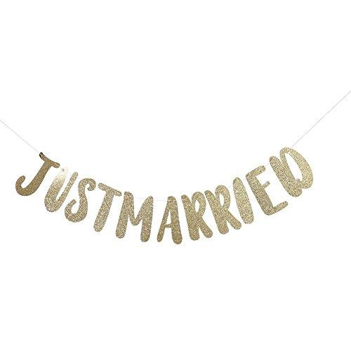 (Zerodis Just Married Banner Girlande Dekorationen für Valentinstag Hochzeit Party Hängende Dekoration Foto Prop(Gold))