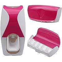 Portacepillos y dispensador de pasta de dientes con 5 ranuras de color rosa