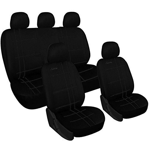 WOLTU 7204 Set Completo di Coprisedili Auto Seat Cover Universali Protezione per Sedile di Poliestere Classici Nero
