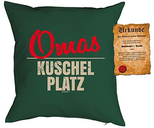 Oma/Deko-Kissen/Sofa-Kissen m. Füllung +Spaß-Urkunde: Omas Kuschel Platz Geschenkidee/Geburtstag