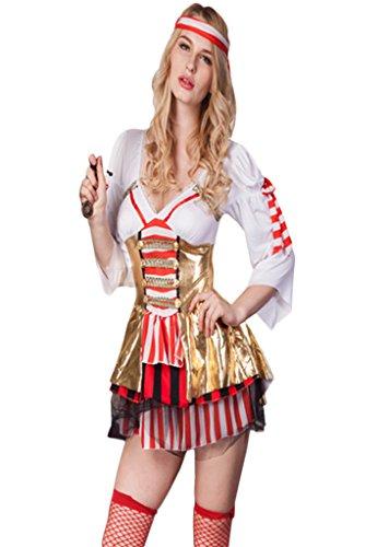 Smile YKK 3/4 Aermel Damen Hexe Stil Halloween Kostüm Set Mit Haarschmuck Cosplay Bekleidung (3/4 Ärmel Kostüme)