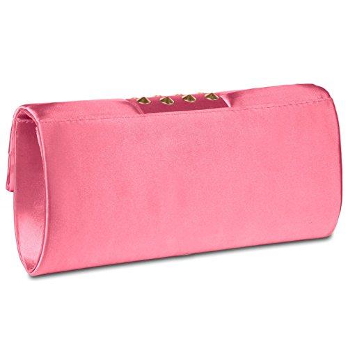 CASPAR Damen Clutch / Abendtasche aus edlem Satin und mit stylischen Nieten - viele Farben - TA313 pink
