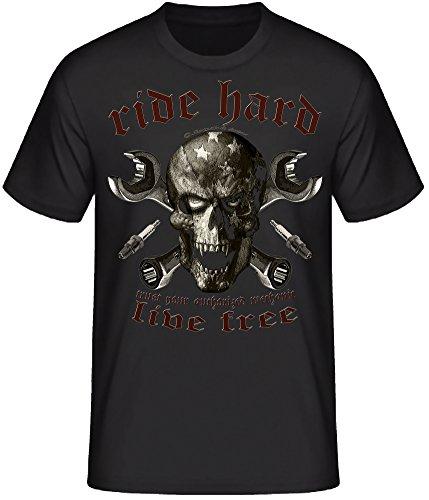 Live to ride Biker T-Shirts Milwaukee Iron Chopper Bobber Route 66, V2 Motorrad ride hard skull schwarz