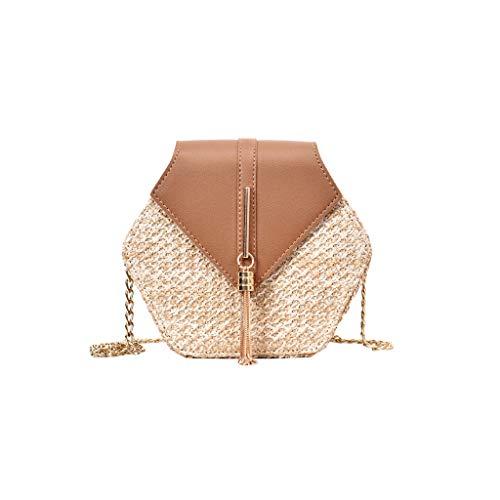 Mitlfuny handbemalte Ledertasche, Schultertasche, Geschenk, Handgefertigte Tasche,Mode Frauen Retro Weben Leder Quaste Kette Tasche Umhängetasche Umhängetasche