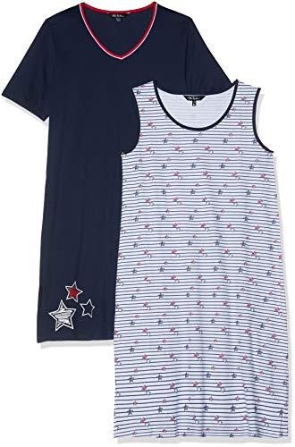 2 Pack Nachthemd (Ulla Popken Damen Big-Shirt 2er Pack, Streifen/Sterne, Größen Nachthemd, Blau (Dunkelblau 70), Herstellergröße: 46+)