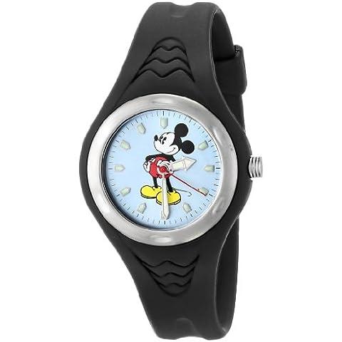 De las mujeres de Disney MCK321 Mickey Mouse de color negro de la correa de caucho reloj de pulsera