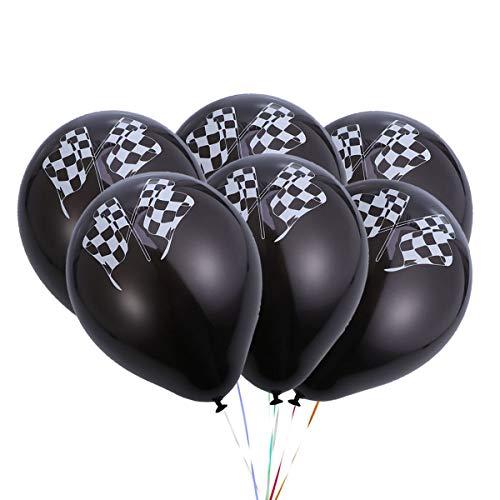 TOYANDONA 10 stücke Latex Luftballons Nette runde Racing Flagge heliumballons für Baby Shower Geburtstag Racing Thema Partei liefert dekor (schwarz)