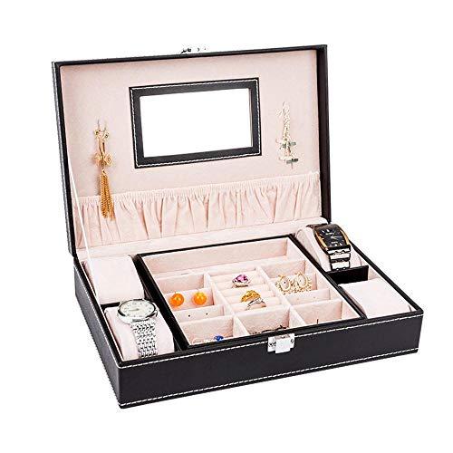 Littlefairy pu cuoio gioielli scatola doppia serratura box 28 * 19,5 * 7.5 cm