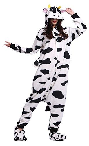sene Cartoon Tier Kigurumi Pyjamas Nachtwäsche Mit Kapuze Cosplay Kostüm Kuh XL for Höhe 178-187CM (Cartoon Kostüme Für Frauen)