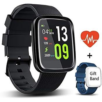 Montre connectée HUOU Homme et Femme, Etanchéité IP67, Écran Tactile, Bracelet Fitness Tracker