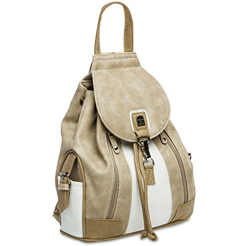 CASPAR TS1028 Damen Tasche Handtasche Rucksack Umhängetasche - diverse Modelle #15117 weiß beige Rucksack