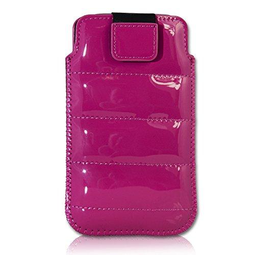 Handy Tasche Case Schutz Hülle Schutzhülle Schale Etui Glamour Style pink G5 Gr.3 für Samsung Galaxy Fame S6810 / Samsung Galaxy Music S6010 / Alcatel 385D / Alcatel One Touch Fire / LG Optimus L3 II E430 / Sony Xperia E / ZTE Open / Samsung Galaxy Star S5280