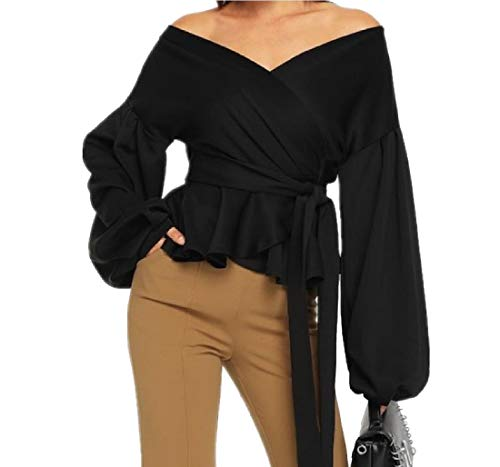 VITryst Women Puff Sleeve Sexy Blouse Tunic Trendy Pure Color T-Shirt Black S -