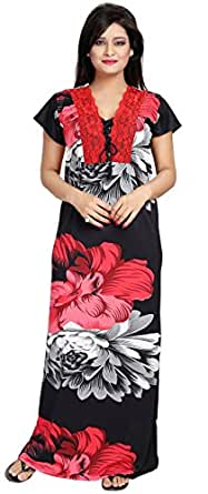 Noty Women's Satin Floral Print Nighty(B-11, Red and Black, Free Size)