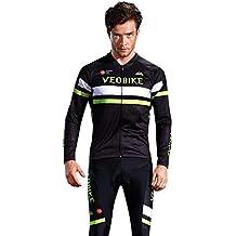 Beydodo Maillot Bicicleta Hombre Ropa de Bicicleta Negro Al Aire Libre y Running, Ciclismo Carreteraize