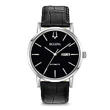 Bulova Herren Analog Automatik Uhr mit Leder Armband 96C131