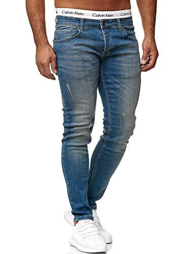 OneRedox Designer Herren Jeans Hose Regular Skinny Fit Jeanshose Basic Stretch 613 Dirty Blue Used 31/32 -