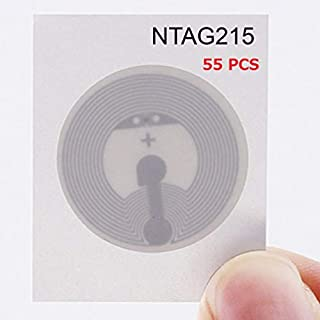 NFC Tags NXP NTAG215 White Round NFC Sticker 25mm Diameter - 100% Compatible TagMo Amiibo and All Other NFC Enabled Devices By TimesKey-55 Pack