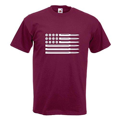 KIWISTAR - Munition Flagge USA T-Shirt in 15 verschiedenen Farben - Herren Funshirt bedruckt Design Sprüche Spruch Motive Oberteil Baumwolle Print Größe S M L XL XXL Burgund