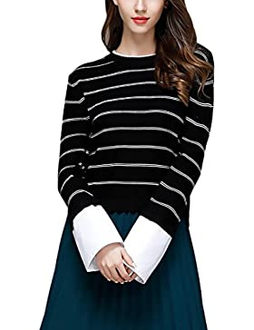 Jersey Mujer De Punto Manga Larga Cuello Redondo Suelto Sencillos Especial Rayas Splicing Elegantes Vintage Fashion...