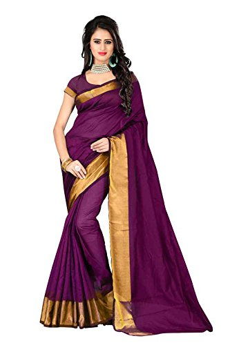 I-Brand Magenta Color Banglori Cotton Slik With Golden Lace Border Saree ( New Arrival Latest Best Design Beautiful Saree Material Collection For Women and Girl Party wear Festival wear Special Function Events Wear In Low Price With Todays Special Offer with Fancy Designer Blouse and Bollywood Collection 2017 )  available at amazon for Rs.256